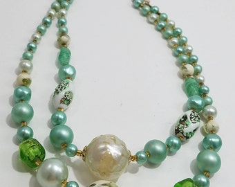 Gorgeous & Unique Double Strand Beaded Necklace from Japan