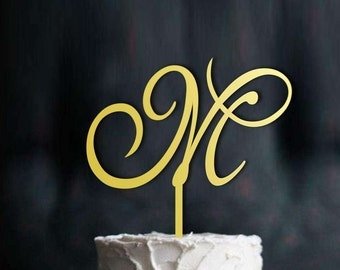 Letter M, Initial Cake Topper, Gold Monogram Cake Topper, Wedding Cake Topper Initial, Single Letter Cake Topper, Cake Topper Letter, CT#025