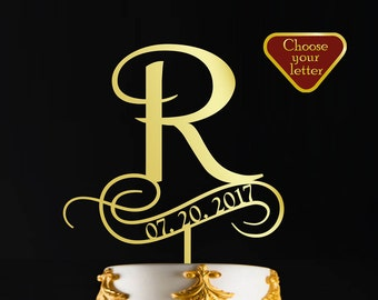 letter r cake topper wedding name gold wedding cake topper date letter monogram in gold color or custom initial cake topper ct019