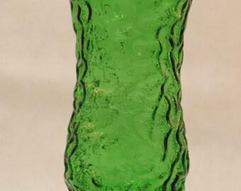Hoosier Vase Emerald Forest Green Crinkle Design