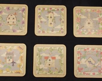 Pimpernel Bird Houses Coaster Set of Six Like New