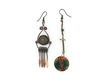 Dangle Boho Style, Copper With Enamel and Malachite Asymmetric Earrings