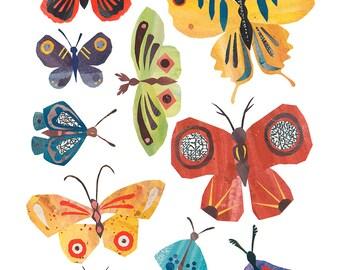 Summer Butterflies - Giclee Print of an Original Collage