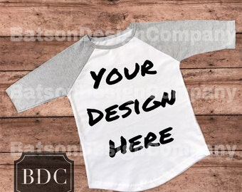 Gray Sleeve Baseball Style Shirt Mockup Instant Download | T-shirt Top Mock-up Wood Background JPEG File | Commercial Use