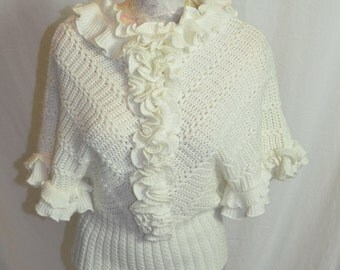 Vintage Womens White Ruffles Sweater - Collar Ruffle, Front Ruffles and Sleeve Ruffles