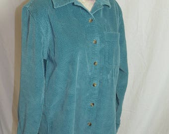 Womens L.L.Bean Teal Corduroy Long Sleeve Button Front Shirt  - Size Small