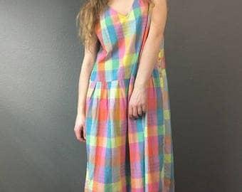 80s Pastel Plaid Cotton Dress // 90s Pastel Goth Pinafore // Vintage OS Baggy Summer Sun Midi Dress