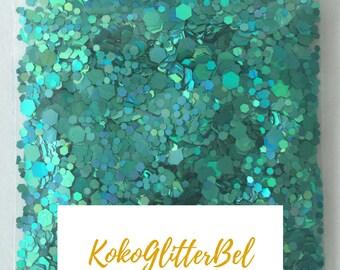 Sea Green Holographic Holo Glitter Hex Solvent Resistant for Nail Art * Bora Bora * 5 grams Metallic Chunky