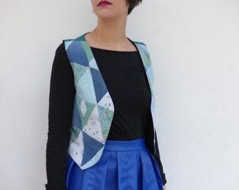 Sleeveless Bolero - fabrics recycled & organic - unique piece