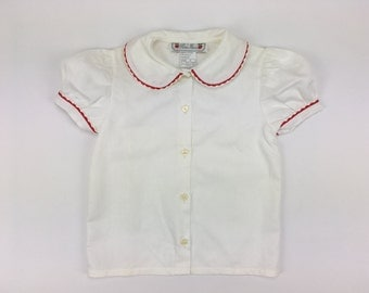 Classic French Puff Sleeve Blouse - Red Piping - Peter Pan Collar | Pom'Flore French Children's Clothing