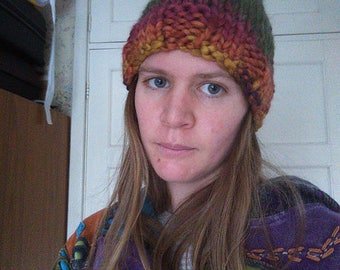 Chunky Hand Knitted Beanie Hat Colourful Sirdar Indie Wool