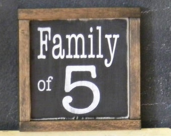 Family number handmade wood sign