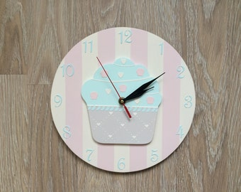 Wall Clock Wooden Sweet Cupcake For Girls Bedroom Baby Nursery