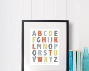 Instant Download: Digital 8x10 nursery print ABCs alphabet in Four colorways