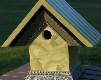Spring Green striped birdhouse BH13  One of a kind