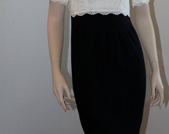 Vintage Liz Claiborne Petite Collection 1980s Formal Dress White Lace with Black Skirt Womens Petite Size 4