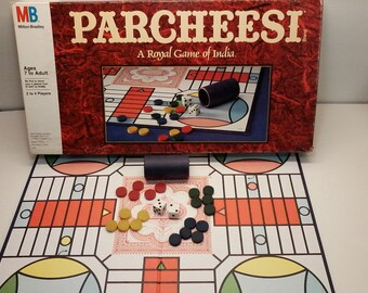Parchessi Game by Milton Bradley from 1989 A Royal Game of India Vintage Board Game Complete