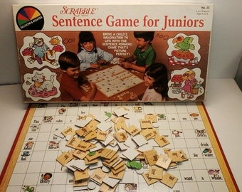 Scrabble Sentence Game for Juniors from 1983 Vintage Fun Learning Game for Kids Good Condition