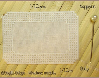 Miniature 1/12th rectangular embroidered doily lace pattern background