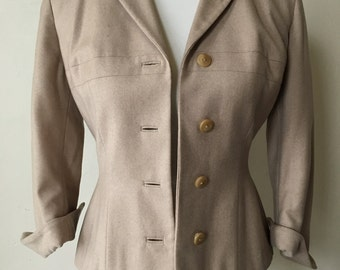 1940s Wool 3/4 Sleeve Tan Jacket