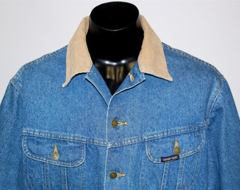 Vintage Late 90s Denim Jacket • Men's Outerwear • Workwear / Ranchwear • Blanket lined Western