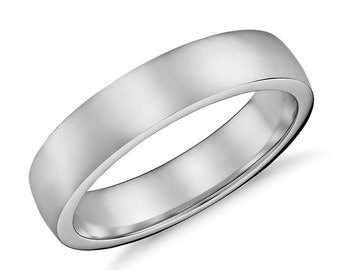 White Gold Women's Wedding Band, 5mm Wide Brushed Flat 14k Recycled White Gold Groom's Ring Mens Wedding Ring Gold Ring - Made in Your Size