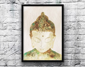 Happy Buddha painting-buddha painting-watercolor-original watercolor-zen style-khadi paper-green-blue-Brown-khadi paper