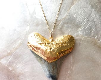 Shark Gold Necklace: megalodon shark tooth, gold fill, shark tooth necklace, beach jewelry, mermaid necklace, tropical luxe, fossil necklace