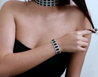 Sparkly Crystal Rhinestone Choker Set for Women, Chic Black & Silver Choker Necklace, Choker Set, Crystal Choker for Women, Choker Necklace