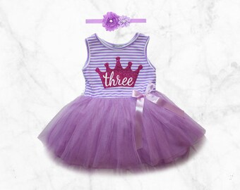 3rd Birthday Tutu Dress with Matching Flower Headband Set Purple Third Bday Three design crown
