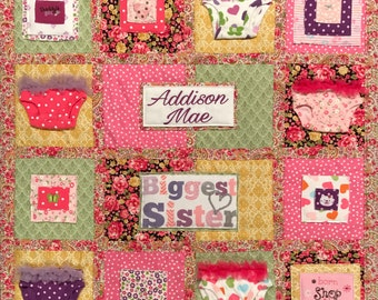 Memory Quilt, Wall Hanging Memory Quilt, Baby Clothes Quilt, Memory Blanket, Personalized, Custom Baby Clothes Quilt, Baby Blanket