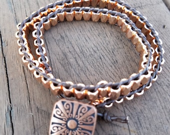 Double Wrap Bracelet Metal and Leather
