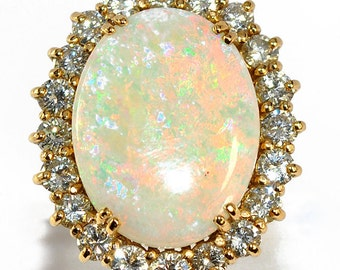 Ring yellow gold 18K ornate Opal 5.2 of Australia and diamonds 2 cts cts