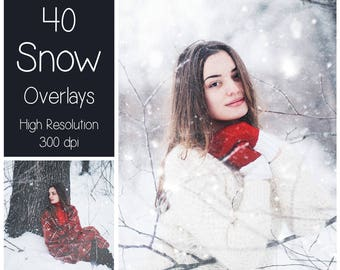 40 Snow Overlays - Snow Textures - Winter Photoshop Overlays - Winter Overlays - Snow Background - Photography Overlays - Snow Backdrop
