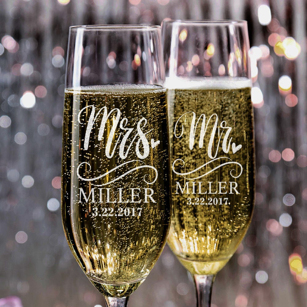 Mr. Mrs. Wedding Champagne Flutes