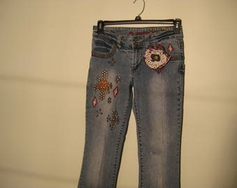 Vintage Jeans, Shabby Chic, Boho Chic, Steampunk, Gypsy girl, Altered Clothing