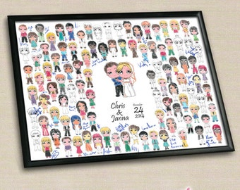 Formal Chibi Wedding Colour In Wedding Guestbook Poster, Digital, Custom