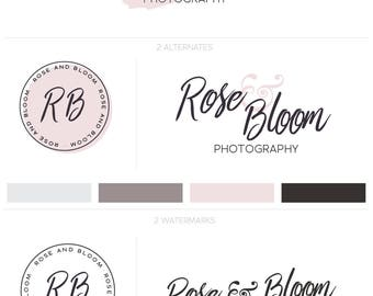 Blog Logo, Photography Logo, Brand Package, Photography Watermark, Pink Watercolor Logo, Premade Logo Kit, Logo Design Kit, Premade Logo