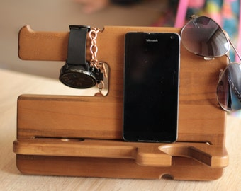 Personalized docking station, Iphone dock, Iphone stand, Personalized, Wood docking station, Anniversary gift,