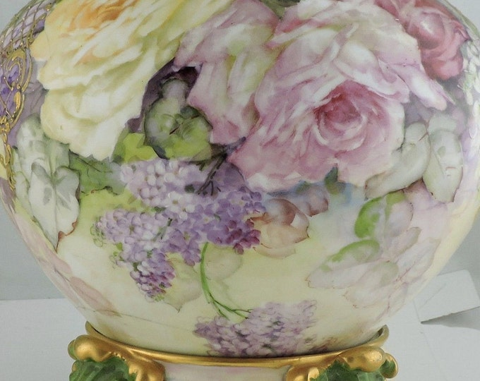 Rare antique Pouyat Limoges Jardiniere on matching Plinth