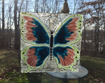 "Assorted Fused Glass Butterfly  10"" x 10"""