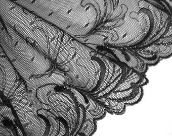 Tulle lace embroidery metallic black 21 cm