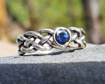Celtic Knot Sapphire Ring, celtic knot, Silver and Gold ring, Sterling Silver, 14k Gold, Sapphire, Blue Sapphire, gold ring, gold, celtic
