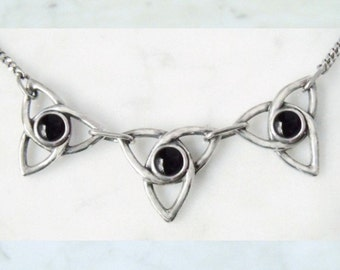 """Silver necklace with Onyx """"Triskele"""""""