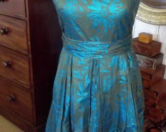 Satin turquoise and khaki green dress Size UK/AU 10