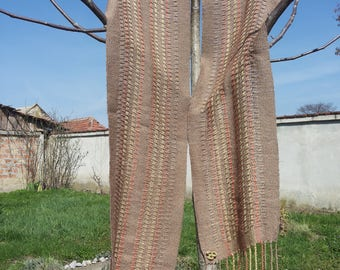 Brown Cotton Woven Scarf