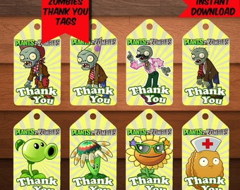 Plants VS Zombies Thank You Tags-Plants Zombies Favors Tags-Digital Zombies Thank You Tags-Plants Party Decoration-Printables Thank You Tags