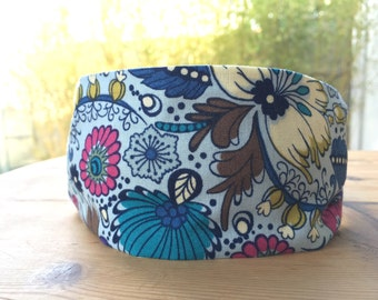 Coloring Garden fabric, womens headband, blue and floral, gift for her, fabric headband, alice band, hair accessories.