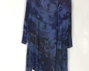 2X Top in Ice-dyed rich blues, purples and greens, hand-dyed wearable art tunic top, triangle hem, rayon a-line top, wendog, Boho Chic