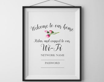 Wi-Fi password print Home sign Welcome Wifi Sign Home print Instant download Printable art Home wall art Home decor